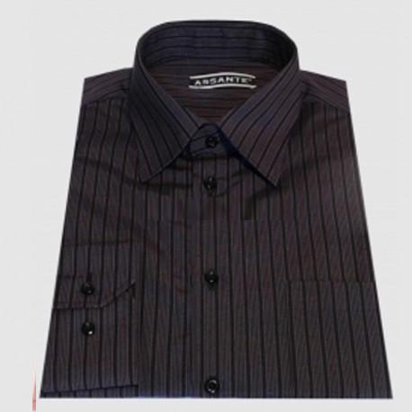 Prodloužená pánská košile černo fialová Assante 20613