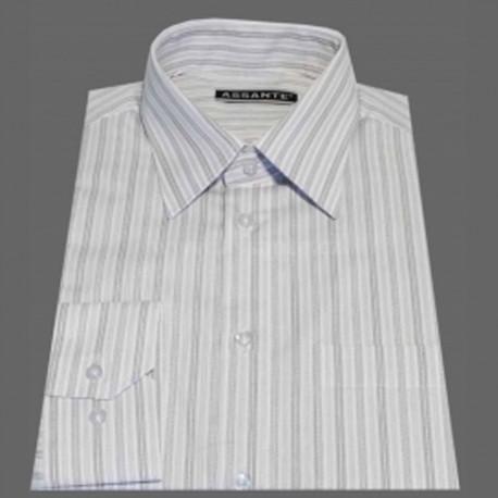 Prodloužená pánská košile bílá s proužkem Assante 20615