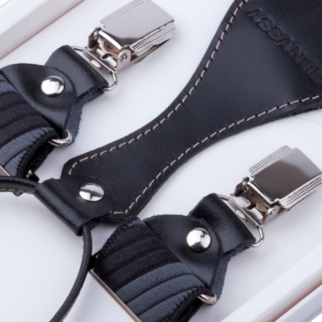 Luxusní šedočerné kšandy s hedvábným leskem kožená poutka Assante 90057