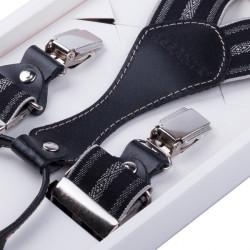 Luxusní černošedé kšandy s hedvábným leskem kožená poutka Assante 90060
