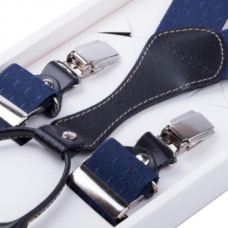 Luxusní modré kšandy s hedvábným leskem kožená poutka Assante 90063