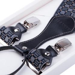 Luxusní černošedé kšandy kožená poutka Assante 90067