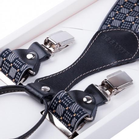 Luxusní černošedé kšandy s hedvábným leskem kožená poutka Assante 90067