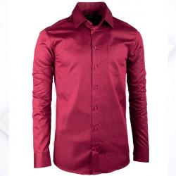 Bordó pánská košile s dlouhým rukávem rovná Assante 30372