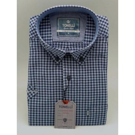 Modrá pánské košile 100 % bavlna krátký rukávTonelli 110803