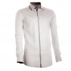 Prodloužená pánská košile šedá slim 100 % bavlna Assante 20705
