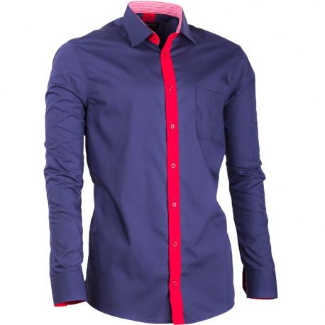 3acee4b1182 Prodloužená pánská košile slim fit modrá Assante 20716