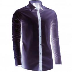 Prodloužená košile šedá slim fit Assante 20719