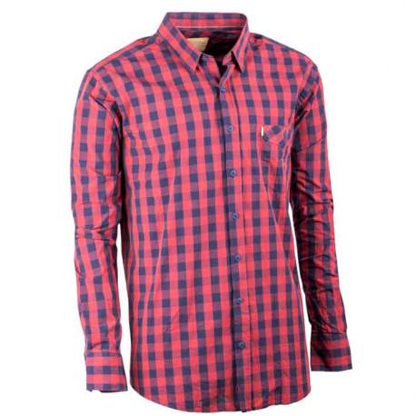 Červená pánská košile dlouhý rukáv 100 % bavlna Tonelli 110902