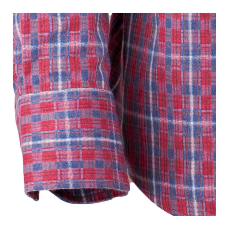 5486042a0e73 Červeno modrá luxusní pánská flanelová košile teplá Tonelli 110909