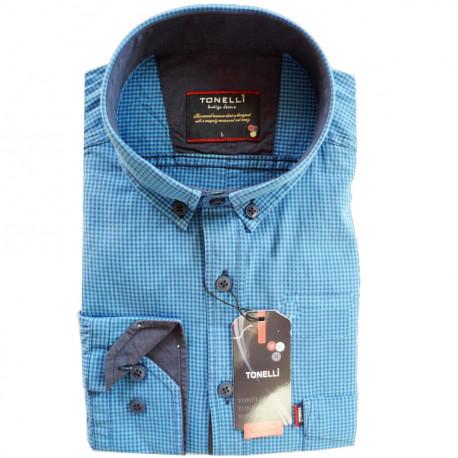 Modrá pánská košile dlouhý rukáv rovný střih Tonelli 110914