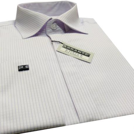 89a2d153dae Prodloužená pánská košile bílá na manžetový knofliček Assante 20617