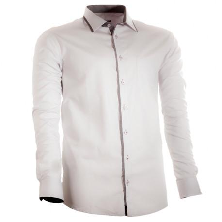 Šedá pánská košile s dlouhým rukávem rovná Assante 30703