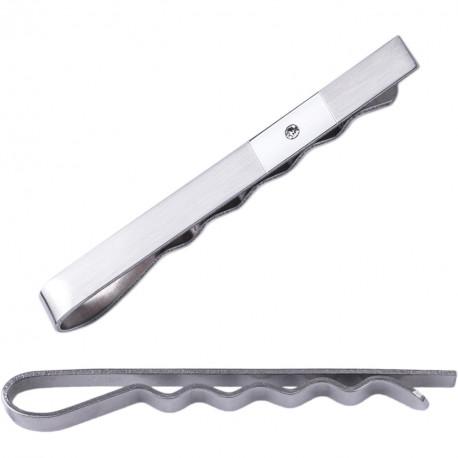 Spona na kravatu bílý kov Assante 90485