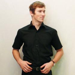 Černá pánská košile s krátkým rukávem rovná Friends and Rebels 40101