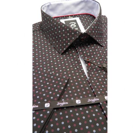 Černá pánská košile krátký rukáv slim střih Brighton 110062