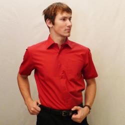 Červená pánská košile s krátkým rukávem rovná Friends and Rebels 40302