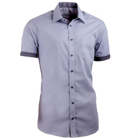 Šedá pánská košile s krátkým rukávem slim fit Aramgad 40139