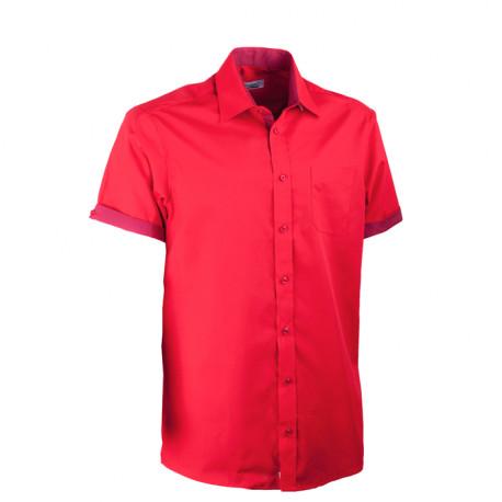 Červená pánská košile rovná s krátkým rukávem Aramgad 40337
