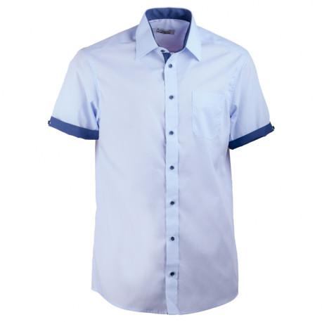 Modrá pánská košile rovná s krátkým rukávem Aramgad 40439