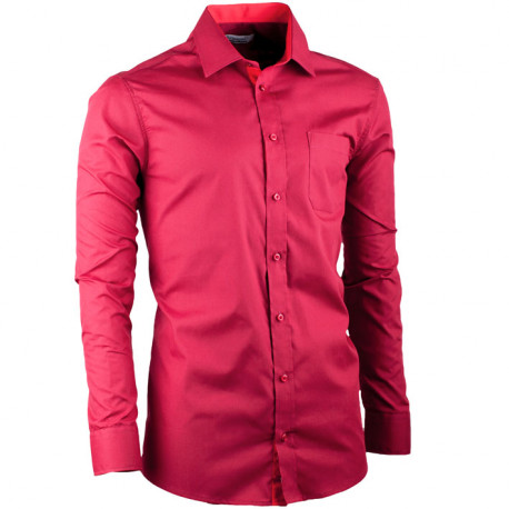 Bordó pánská košile slim fit s dlouhým rukávem Aramgad 30380