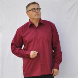 Prodloužená pánská košile vínově červená Friends and Rebels 20304