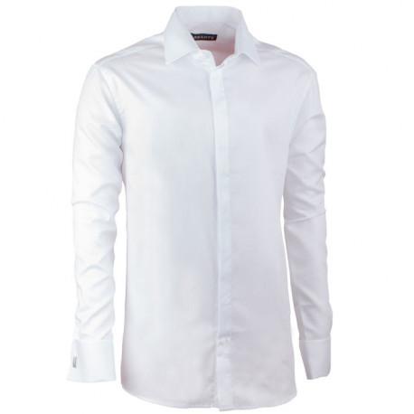 Prodloužená košile na manžetový knoflíček regular bílá Assante 20025