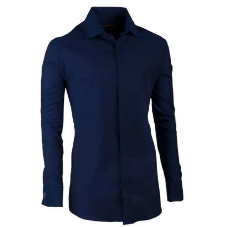 Košile na manžetový knoflíček slim modrá indigo Assante 30429