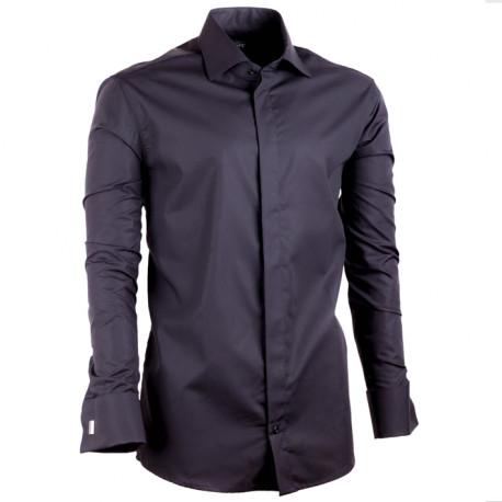 Prodloužená košile na manžetový knoflíček slim fit černá Assante 20110