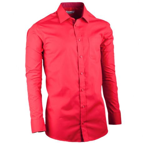 Prodloužená pánská košile slim fit červená Aramgad 20308