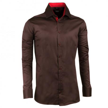 Nadměrná košile 100% bavlna tmavě hnědá Assante 31033