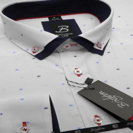 Bílá pánská košile dlouhý rukáv s dvojitým límcem Brighton 109964