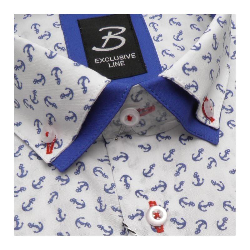 3bbe45321d7c Bílomodra marine pánská košile s dvojitým límcem Brighton 119966