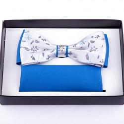 Šedomodrý svatební motýlek s kapesníčkem Assante 90235