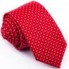 Červená slim fit kravata s puntíkem Greg 93196