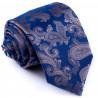 Kravata modrá šedý kašmírový vzor Greg 94265