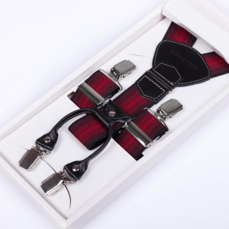 Luxusní kšandy červenočerné kožená poutka Assante 90027