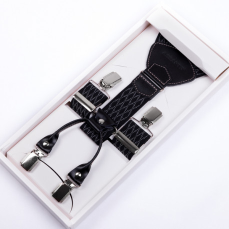 Luxusní černošedé kšandy kožená poutka Assante 90046