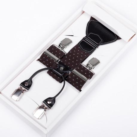 Luxusní hnědé kšandy kožená poutka Assante 90049