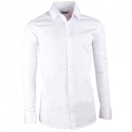 Pánská svatební košile bílá vypasovaná slim fit Aramgad 30044