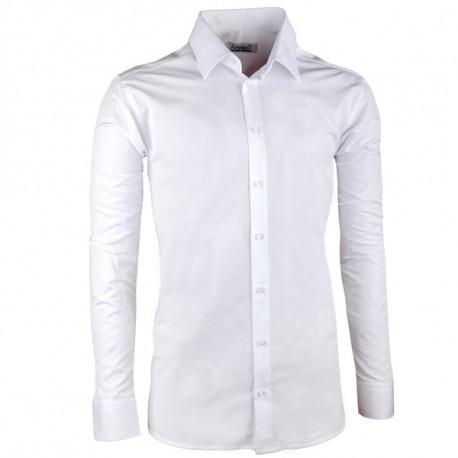 Pánská svatební košile bílá vypasovaná slim fit Aramgad 30045