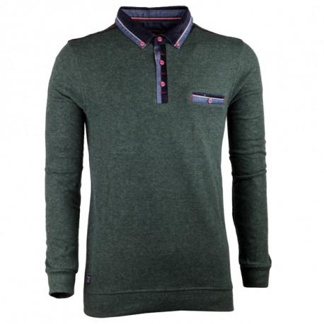 Zelený pánský svetr bavlněný Semal 167015
