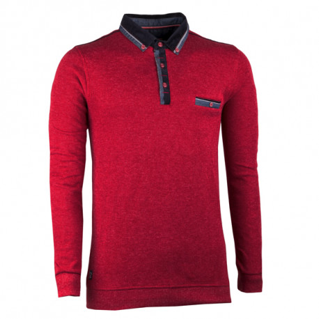 Vínově červený pánský svetr bavlněný Semal 167017