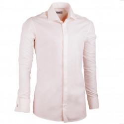 Prodloužená pánská košile slim fit šampaň Assante 20207