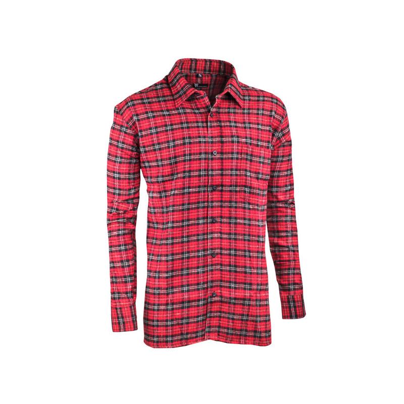 Červená flanelová košile s dlouhým rukávem rovná Friends and Rebels 30818  ... 8d45bb595d