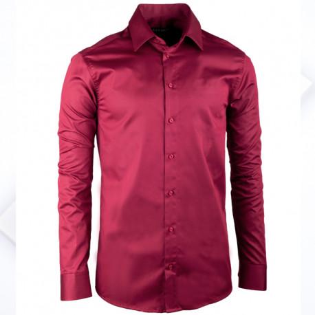 Extra prodloužená pánská košile slim fit vínově červená Assante 20314