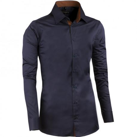 Švestkově modrá pánská košile slim 100% bavlna non iron Assante 30488