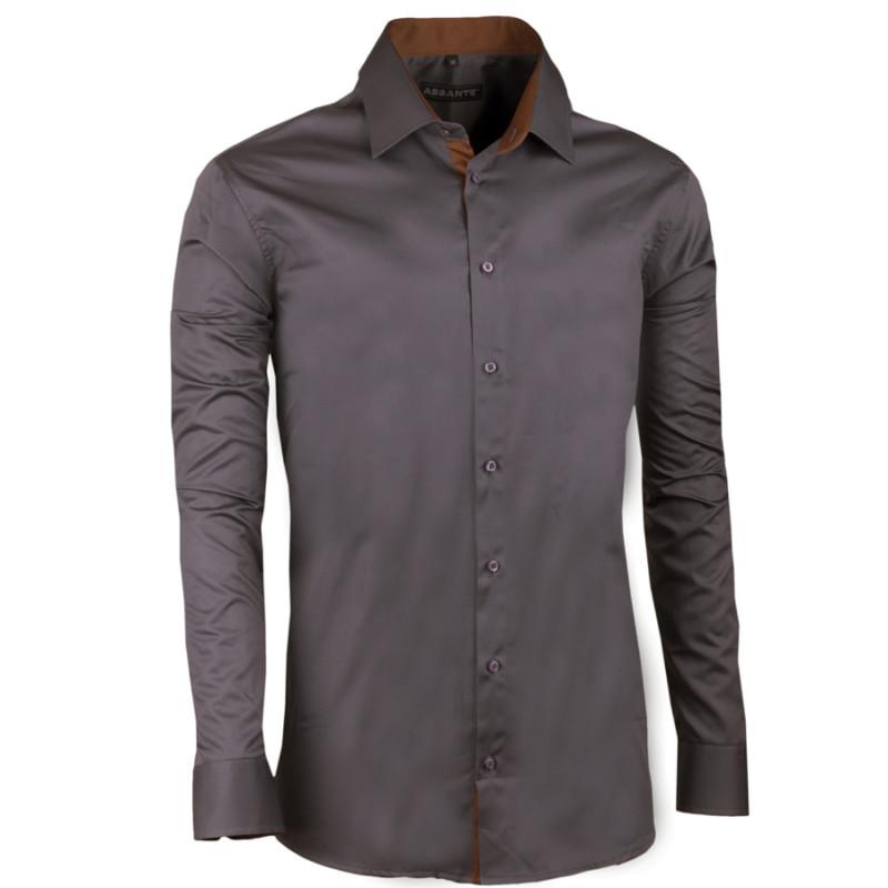 Tmavě šedá pánská košile slim 100% bavlna non iron Assante 30185 4445b59580