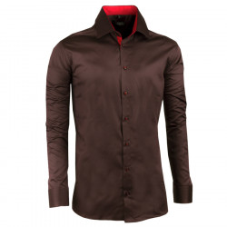 Tmavě hnědá pánská košile slim 100% bavlna non iron Assante 30286 0734d20c48