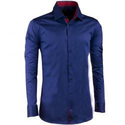 Prodloužená pánská košile slim kobaltová Assante 20407